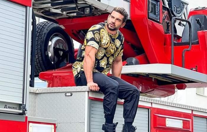 dorian popa pe masina de pompieri