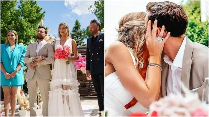 Colaj cu Dani Oțil și Gabriela Prisăcariu alături de Tinu Vidaicu și Roxana Ionescu la nuntă/ Dani Oțil și Gabriela Prisăcariu în timp ce se sărută.