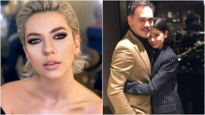 Colaj cu chipul Lidiei Buble/ Răzvan Simion în brațe cu fiica, Ianca, la costum amândoi.