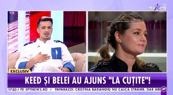 Keed poartă o uniformă albă de bucătar și e la Antena Stars. În dreapta e poză cu Maria Șandru, fosta concurentă de la Chefi la cuțite.