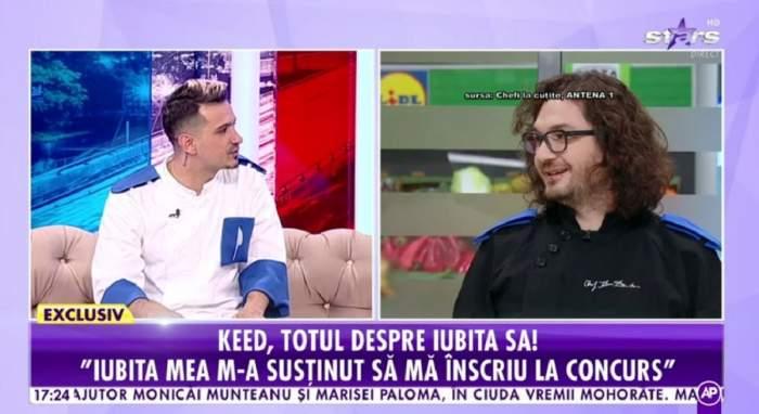 Keed poartă o uniformă albă de bucătar și e la Antena Stars. În dreapta e poză cu Florin Dumitrescu.