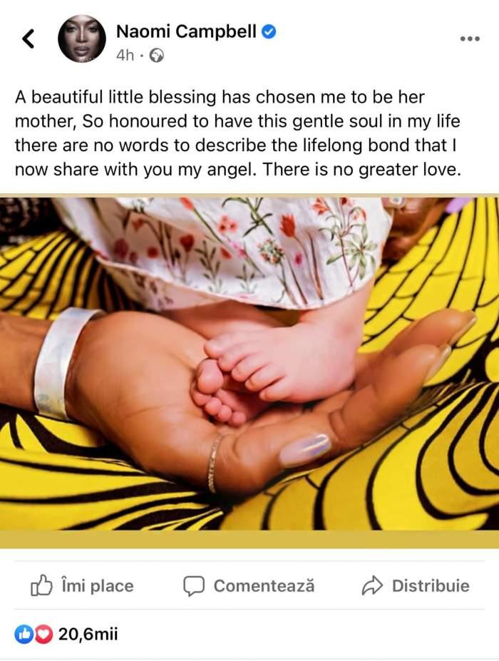 Naomi Campbell a devenit mamă. Cum arată fetița celebrului model