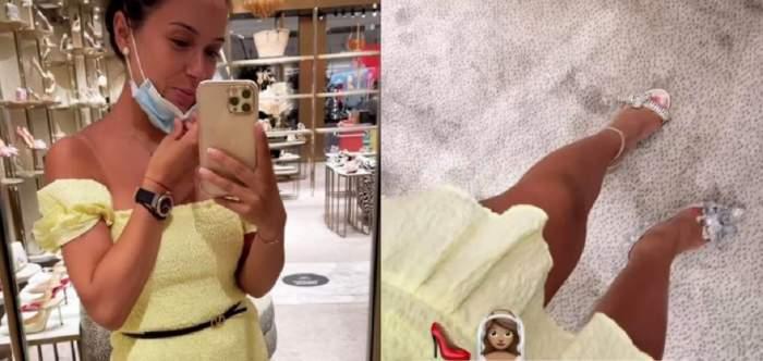 Un colaj cu Vlăduța Lupău. Vedeta se află într-un magazin din Dubai și le arată fanilor ce pantofi de mireasă și-a găsit.