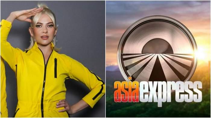 Colaj cu Lidia Buble cu salopetă galbenă/ logo asia express.