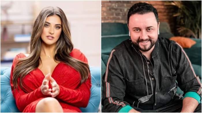 Colaj cu Antonia în rochie roșie/ Cătălin Măruță cu cămașă de blugi.