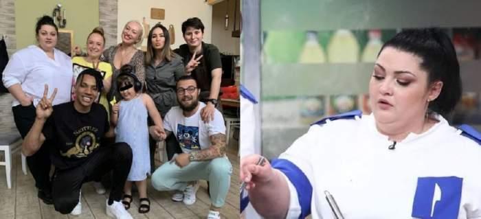 În stânga e un colaj cu Porumbița, fiica ei, Antonia, și colegii de la Chefi la cuțite. În dreapta Porumbița gătește la Chefi la cuțite.