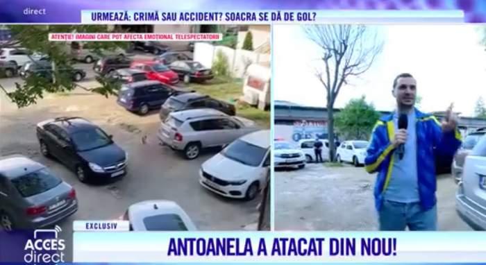 """Scene șocante cu atacatoarea Mirelei Vaida! A venit dezbrăcată la sediul Acces Direct și a atacat cu pietre. Ce i-a strigat prezentatoarei: """"Să-mi dai banii!"""" / VIDEO"""