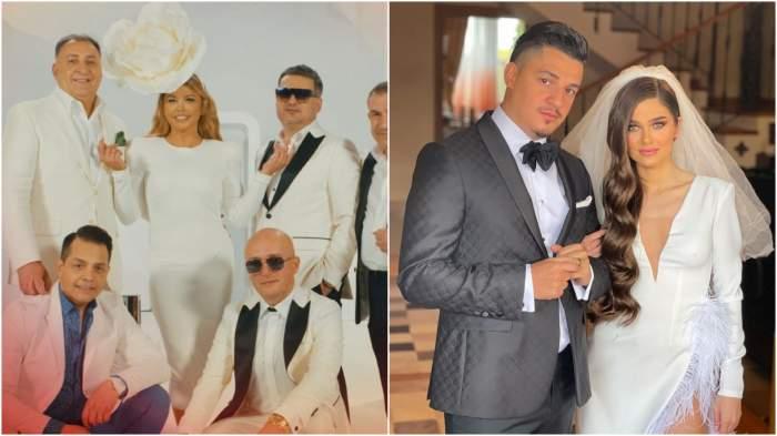 Colaj cu Loredana Groza alături de artiști/ Theo Rose și Bogdan de la Ploiești în haine de nuntă.