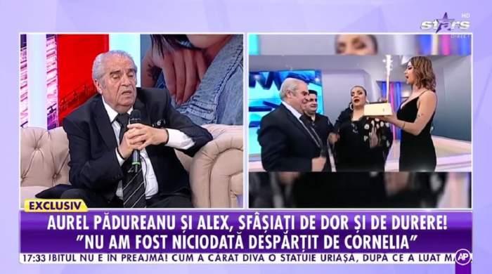 Aurel Pădureanu poartă un costum negru și se află la Showbiz Report. În dreapta e o imagine cu el și Cornelia Catanga de la Antena Stars când țineau un tort în mâini.