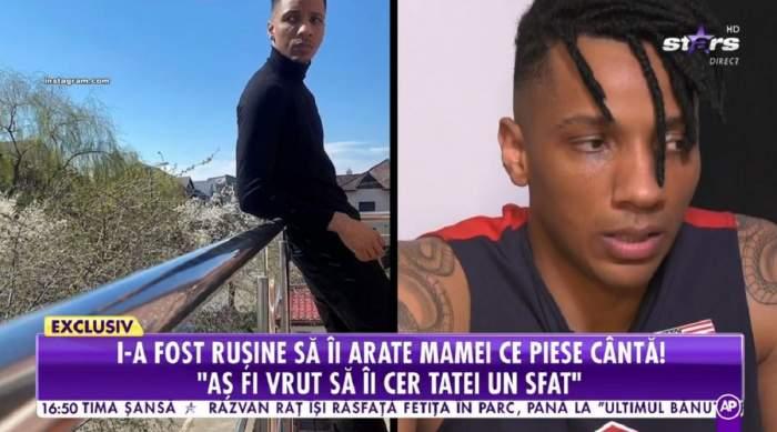 Alexandro Matias dă un interviu la Antena Stars. În stânga e o poză cu el când poartă pantaloni și maletă neagră.
