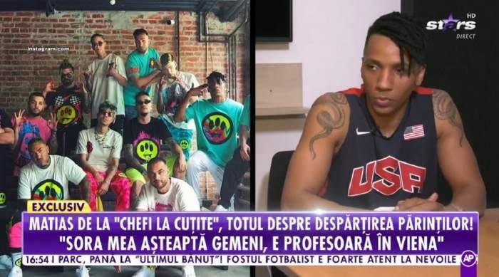 Alexandro Matias dă un interviu la Antena Stars. În stânga e o poză de grup cu Alex Velea și membrii din Golden Boy Society.