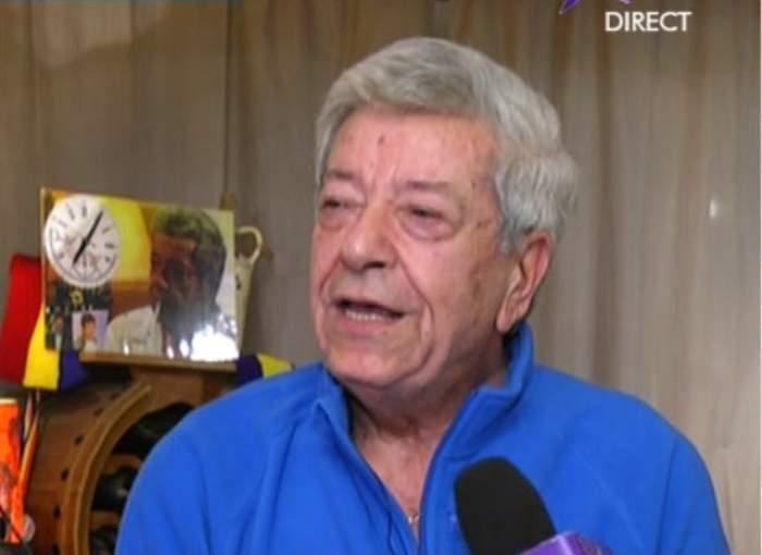 Ion Dichiseanu la ultimul său interviu, în cămașă albastră.