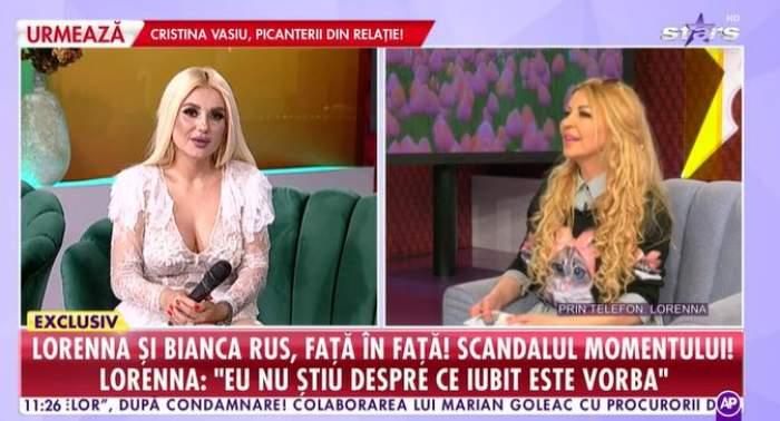 Captură video cu Bianca Rus la Antena Stars și Lorenna telefonic.