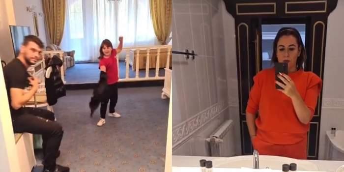 oana roman la munte cu fiica si marius elisei, ea isi face selfie in oglinda