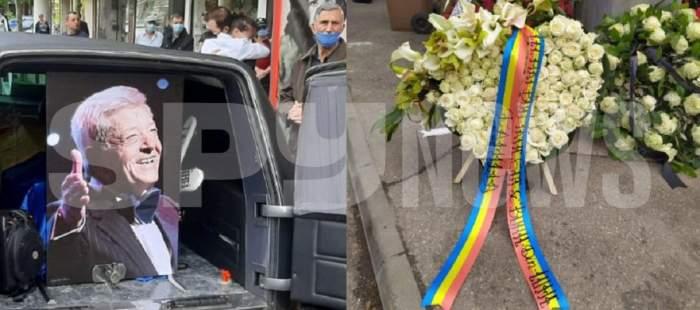 Un colaj cu poza lui Ion Dichiseanu și coroana pe care i-a adus-o fiica lui la înmormântare.