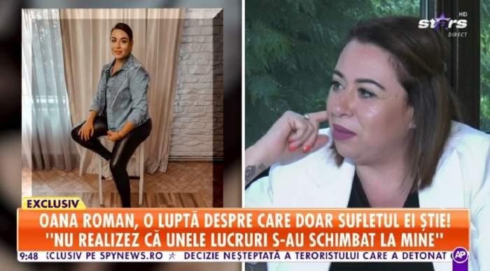Oana Roman dă un interviu la Antena Stars, fiind îmbrăcată în tricou negru și sacou alb. În stânga ei e o poză cu ea când stă pe scaun.