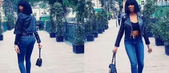 Un colaj cu Laurette în timp ce vedeta se plimbă pe străzile Parisului.