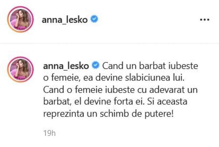 Anna Lesko a postat un mesaj legat de iubire pe Instagram.