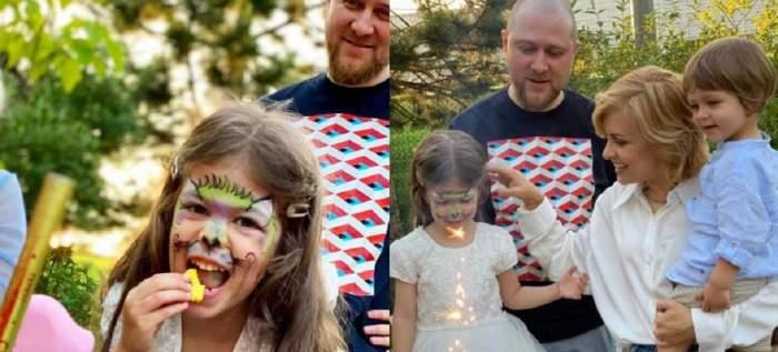 Un colaj cu Simona Gherghe și familia ei. Cu toții se află în curte, la ziua de naștere a Anei. Sărbătorita poartă o rochie albă și mănâncă din tort.