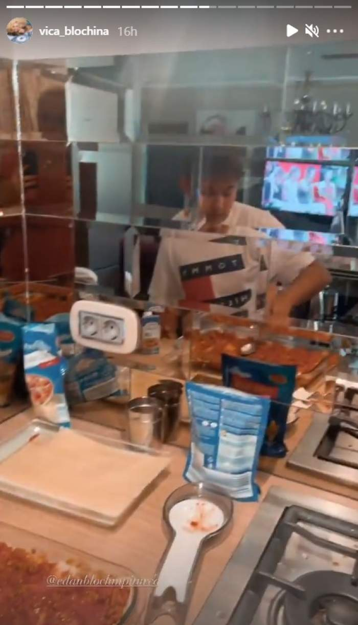 Fiul Vicăi Vlochina în bucătărie
