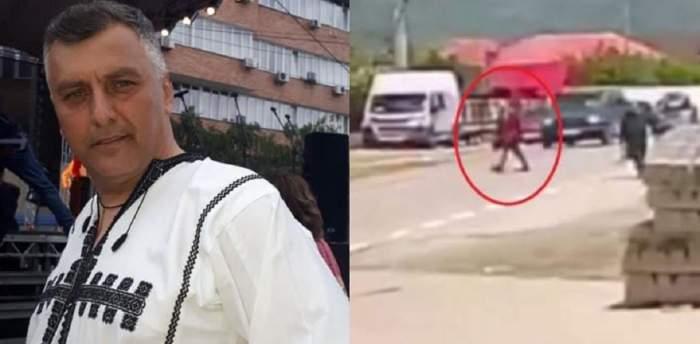 Un colaj cu Corin Dobrinescu. În prima poză e îmbrăcat în port popular, iar în a doua e o imagine cu el pe stradă, înainte să fie lovit de o mașină.