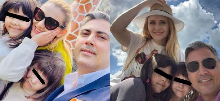 Un colaj cu Alina Sorescu și familia ei.