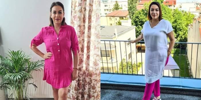 oana roman colaj imagini cu ea in haine roz si albe