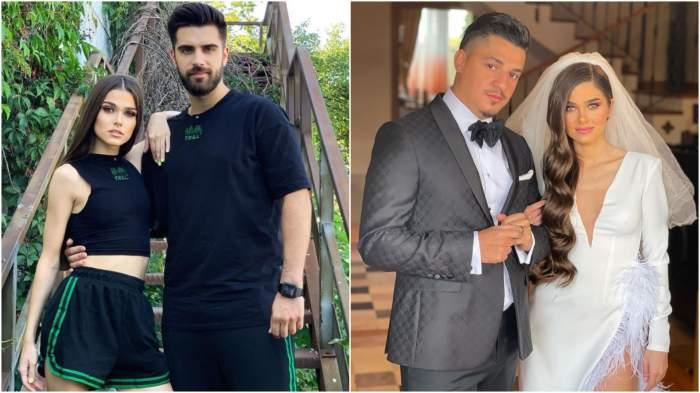 Colaj cu Alex Leonte și Theo Rose îmbrățișați/ Theo Rose și Bogdan de la Ploiești în haine de nuntă.