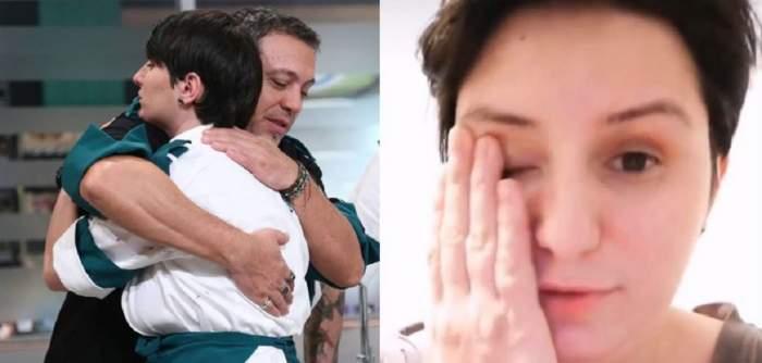 În stânga e o poză cu Cristina Mălai care-l îmbrățișează pe Sorin Bontea. În dreapta e o poză cu ea în care plânge.