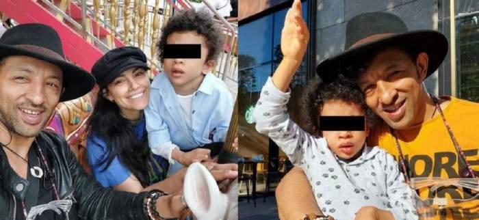 Un colaj cu Kamara, fosta soție și fiu lor. În stânga sunt într-un parc de distracții, iar în dreapta artistul și Leon zâmbesc.