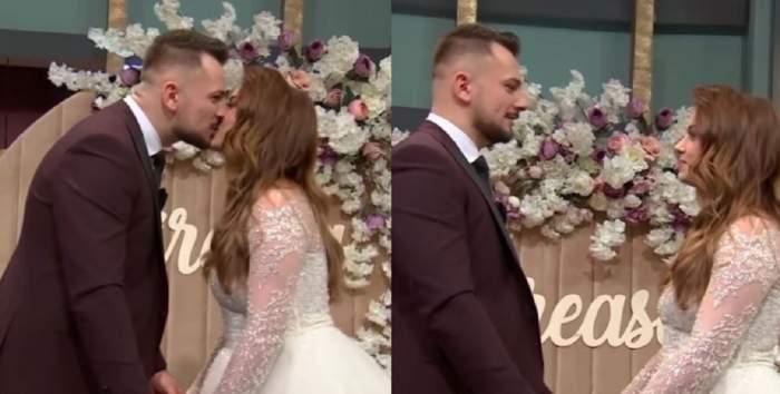 Un colaj cu Andreea și Alexandru de la Mireasa de la nuntă. Cei doi se sărută.
