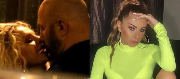 În stânga Maria Andria se sărută cu Cătălin Scărlătescu. În dreapta blondina poartă o maletă galbenă.