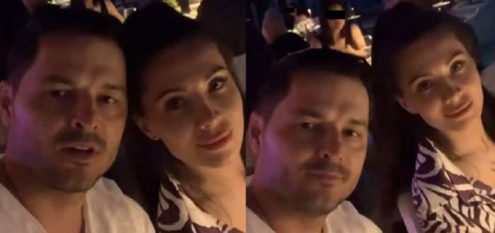 Anda Călin și Liviu Vârciu sunt la restaurant. El poartă tricou alb, iar ea o cămașă alb cu negru.