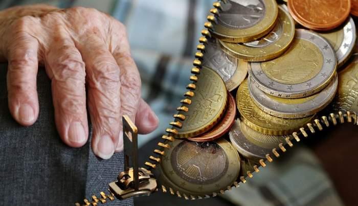 În stânga este o mână de persoană bătrână, iar în dreapta mai multe monede.