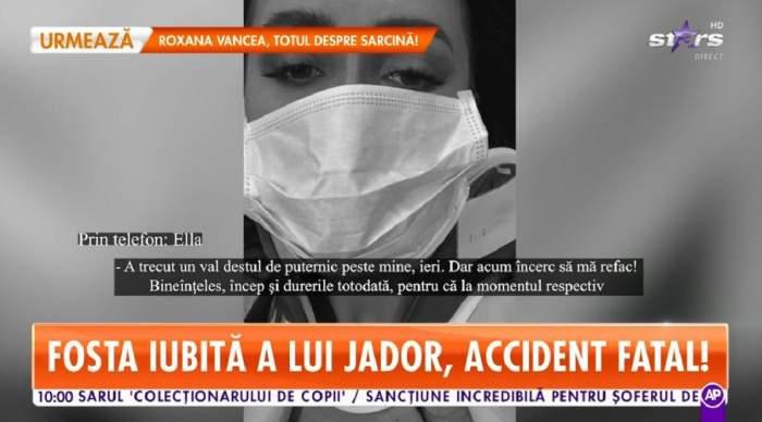 Ella dă declarații la Antena Stars despre accidentul în care a fost implicată. Pe fundal e o poză alb-negru cu ea.