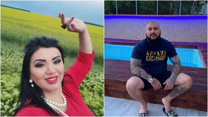 Colaj cu Adriana Bahmuțeanu în tricou roșu/ Dani Mocanu la piscină.