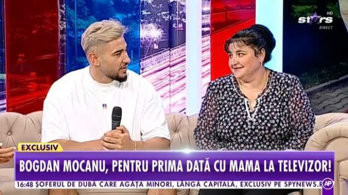 Bogdan Mocanu și mama sa în platou la Antena Stars.
