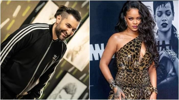 Colaj cu Smiley în trening negru/ Rihanna în rochie animal print.