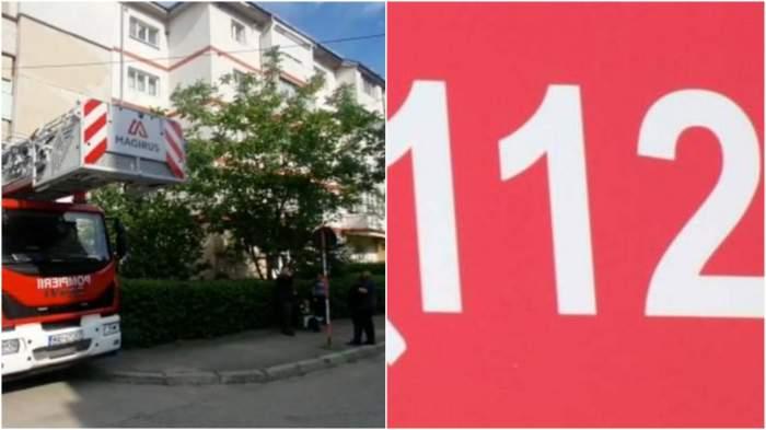 Colaj cu locul faptei/ numărul de urgență 112.