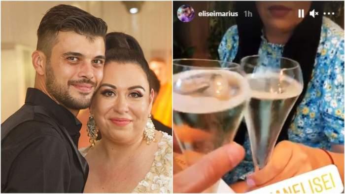 Colaj cu Oana Roman și Marius Elisei  în perioada în care formau un cuplu/ Oana Roman și Marius Elisei la restaurant.