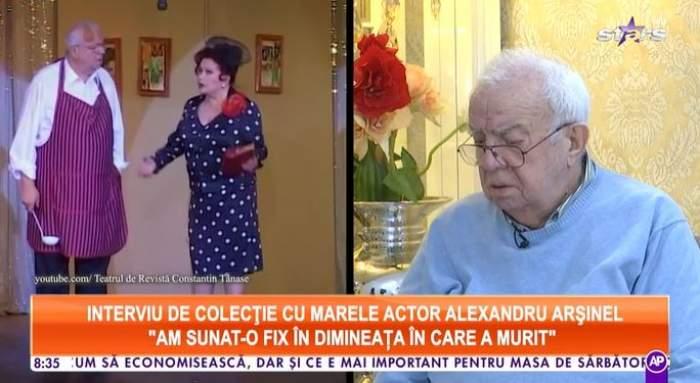 Captură video cu Alexandru Arșinel la Antena Stars.