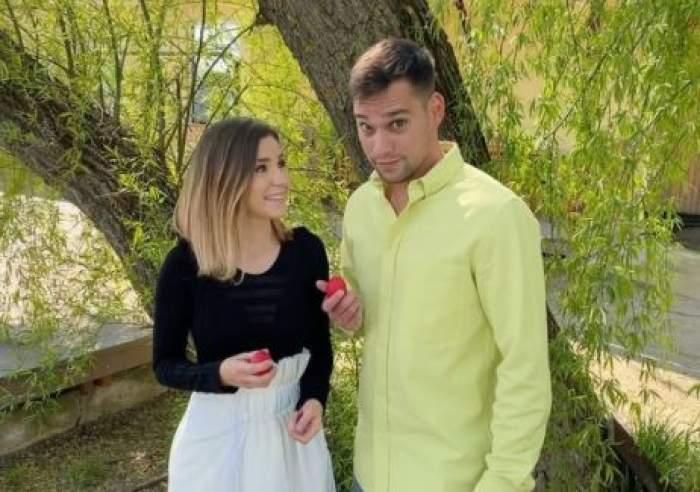Cristina Ciobănașu și Vlad Gherman, împreună de Paște, cu ouă în mână.