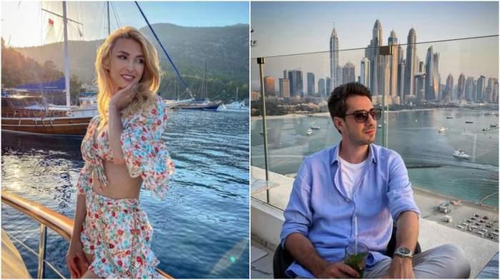 Colaj cu Andreea Bălan la mare/ Tiberiu Argint cu cămașă albastră.