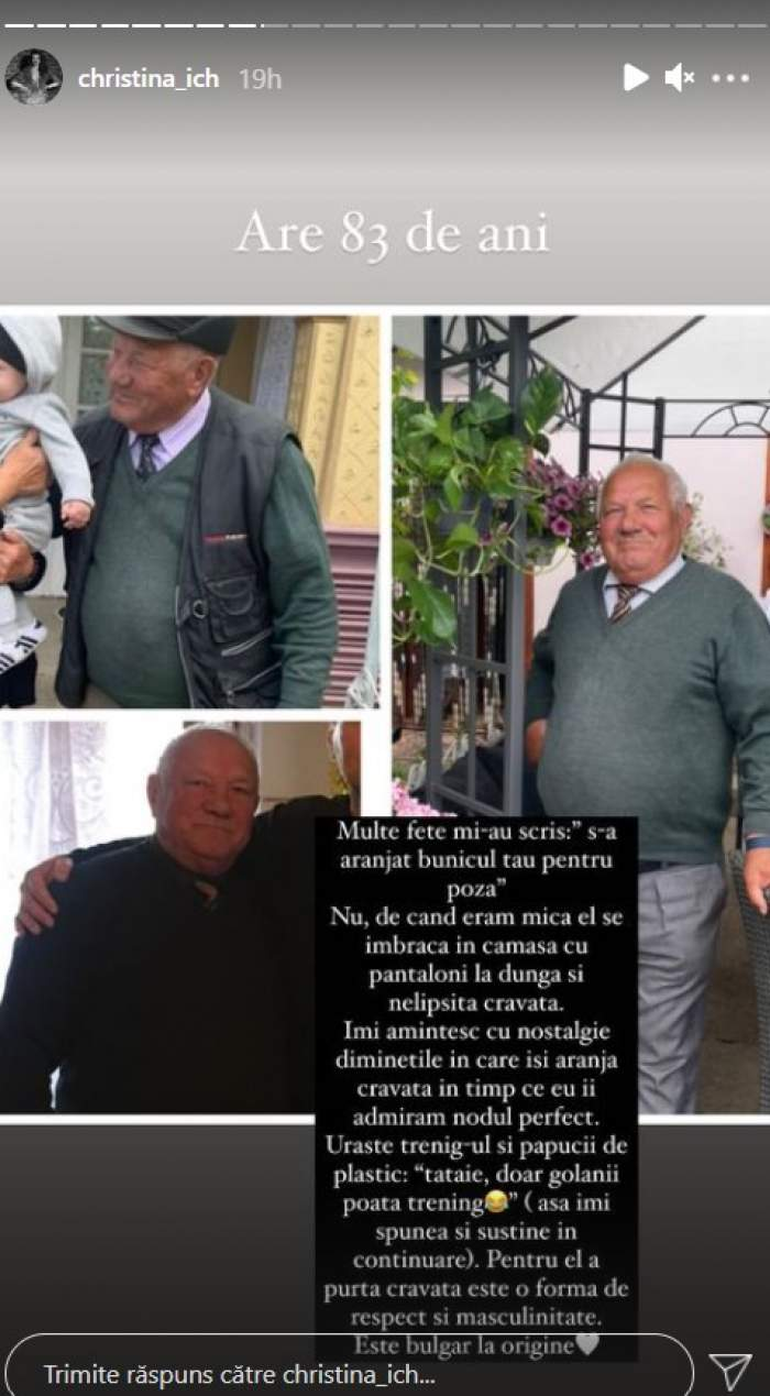 Cristina Ich sare în apărarea bunicului ei. Ce comentarii răutăcioase a primit iubita lui Alex Pițurcă după ce a pus o poză cu bărbatul / FOTO