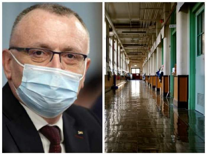 Colaj cu Sorin Cîmpeanu cu mască la gură/ holul unei școli.