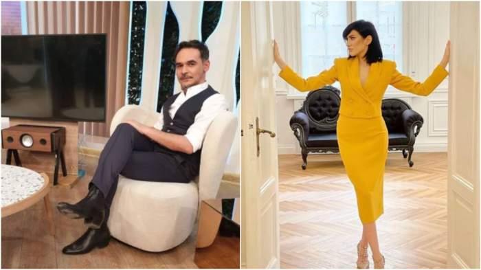 Colaj cu Răzvan Simion pe scaun/ Daliana Răducan în costum galben.