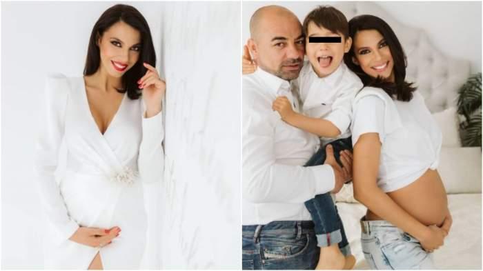 Colaj cu Irina Mohora în rochie albă/ Irina Mohora alături de fiul și soțul său.