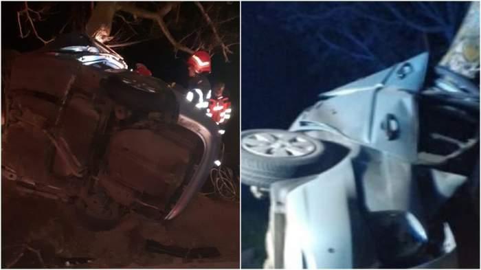 Colaj cu imagini de la locul accidentului.