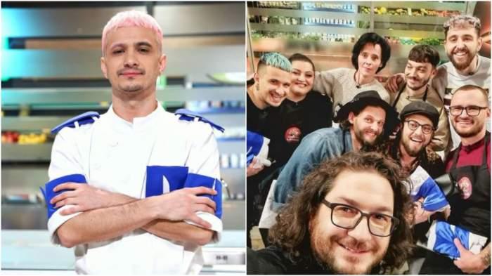 Colaj cu Keed în bucătăria Chefi la cuțite/ Florin Dumitrescu alături de concurenți.