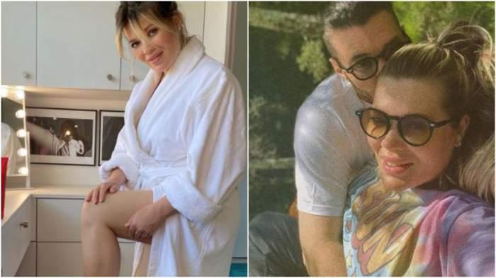 Colaj cu Gina Pistol cu halat alb/ Gina Pistol și Smiley îmbrățișați.